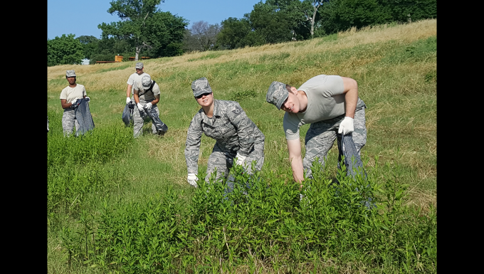 Airmen clean up the Trinity River